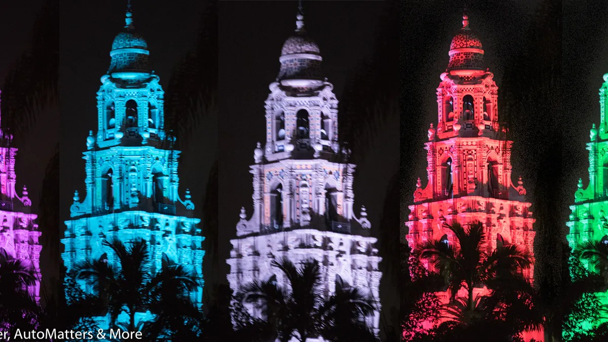 The iconic California Tower, constructed for the 1915 Panama-California Exposition and lit up for the holiday season.