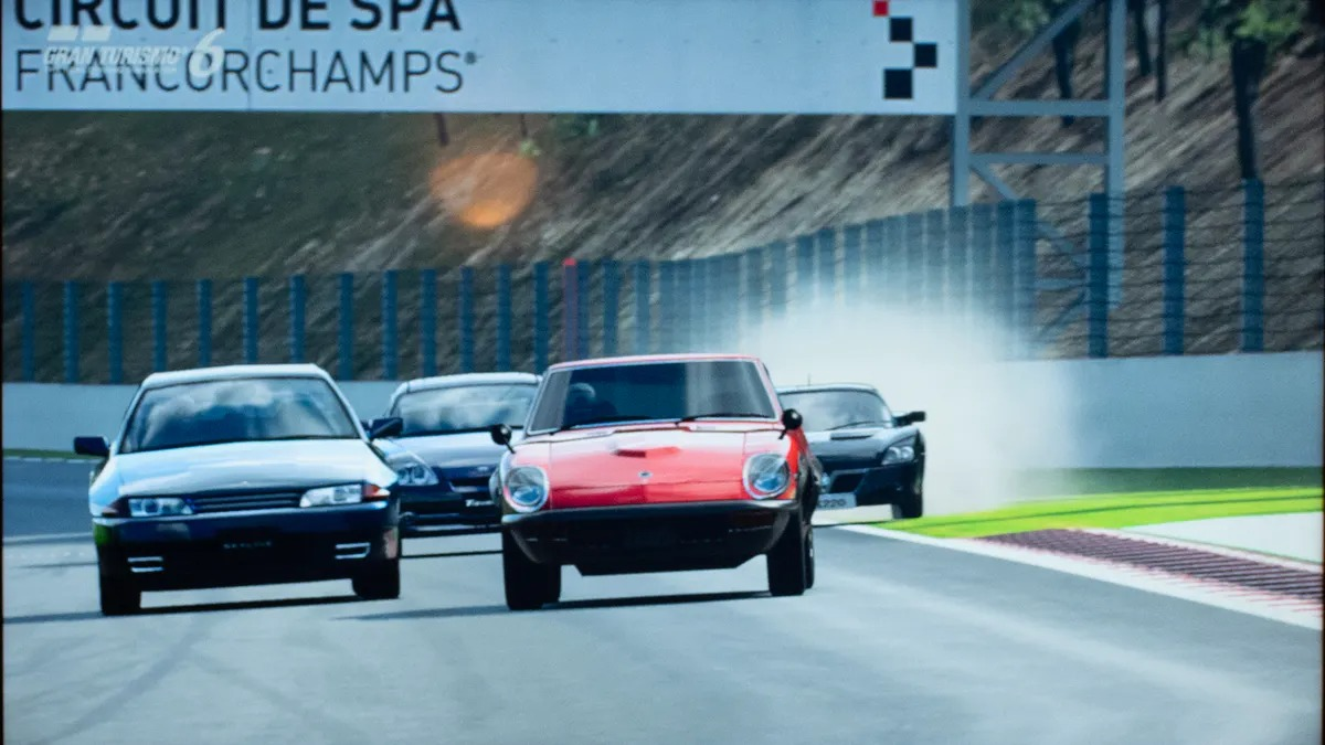 """<span class=""""image-caption"""">Screen shot of racing at Spa-Francorchamps, from GRAN TURISMO 6 on the PlayStation 3. That's me in the lead in the red 1971 Datsun&nbsp;240ZG!</span>"""