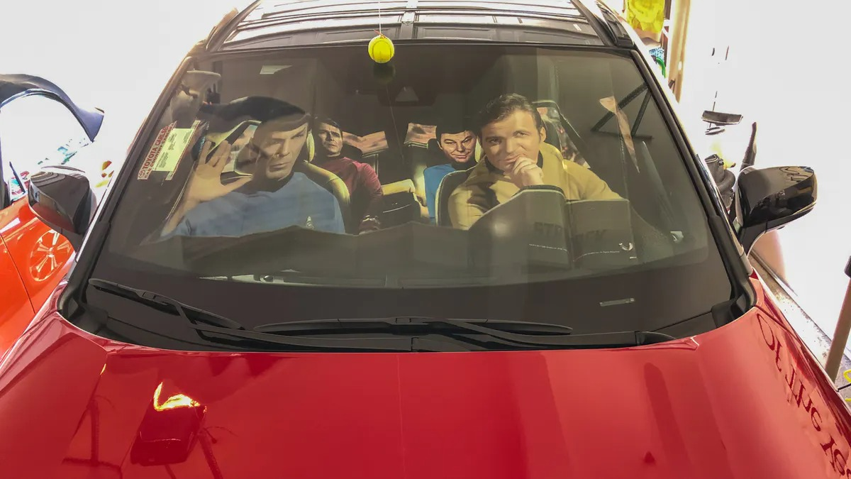 """<span class=""""image-caption"""">Classic STAR TREK sunshade from TOYNK.com in my new 2021 RAV4 Prime XSE 'space' ship</span>"""