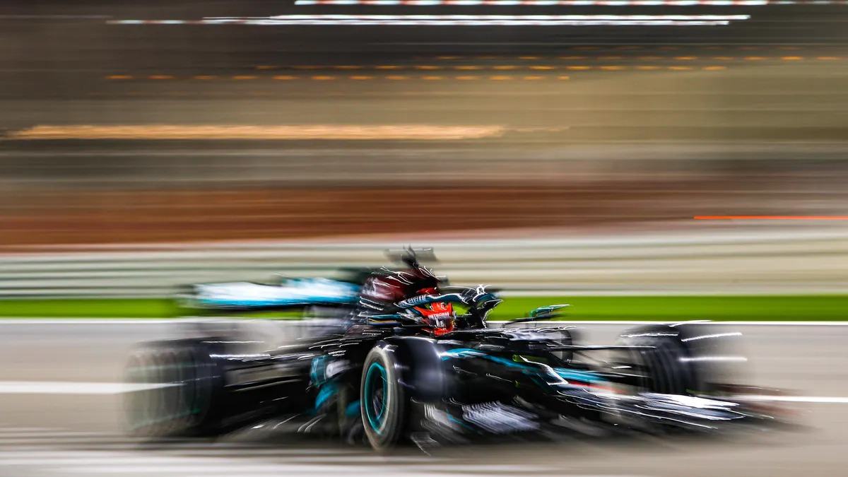 """<span class=""""image-caption"""">George Russell subbing for Lewis Hamilton — Mercedes-AMG Petronas #63 in the 2020 Sakhir GP</span>"""