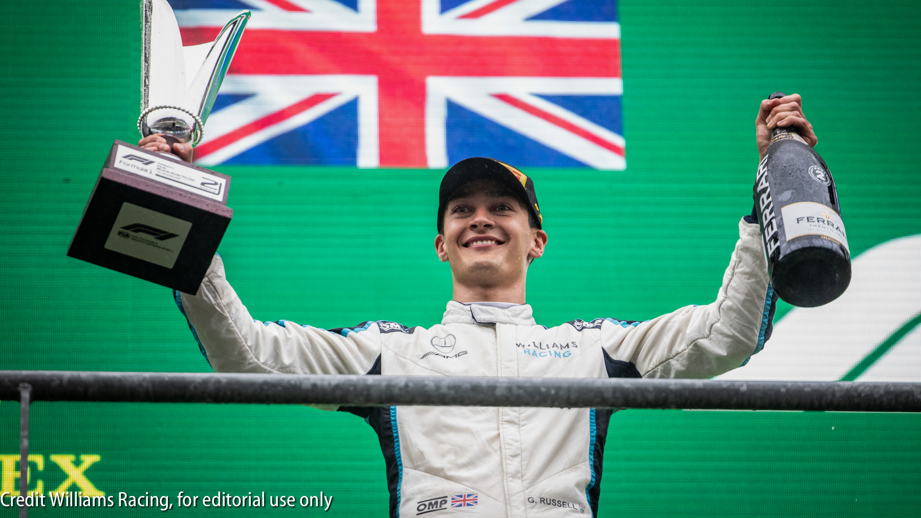 George Russell (GBR) Williams Racing celebrates his second position on the podium. Belgian Grand Prix, Sunday 29th August 2021. Spa-Francorchamps, Belgium.